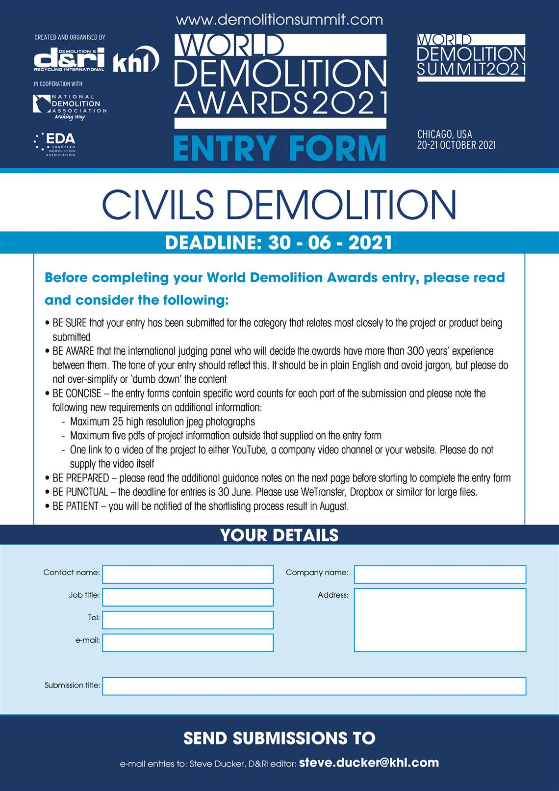 KHL World Demolition Awards entry form Civils Demolition